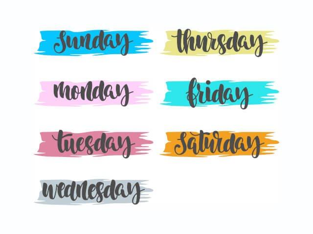 Nomes dos dias da semana em Inglês